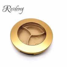 金色圆形三色眼影盒可定制化妆品包材盒带天窗磨砂翻盖粉盒厂批发