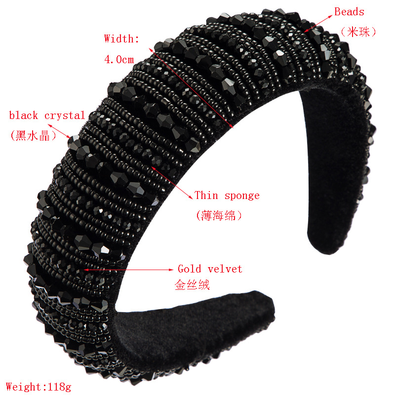 Headband female high-end simple wide-brimmed fashion handmade beaded sponge with black crystal headband NHLN178867