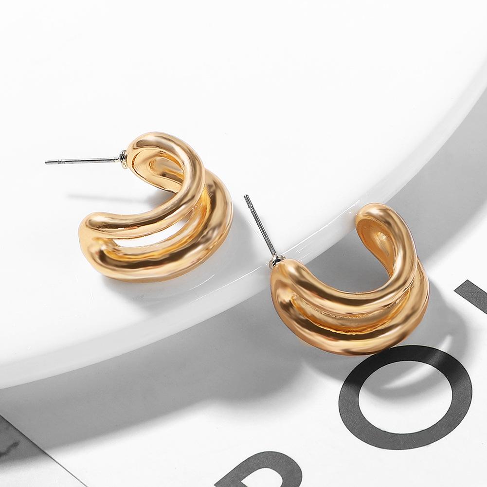 Irregular metal hoop earrings NHJQ154473