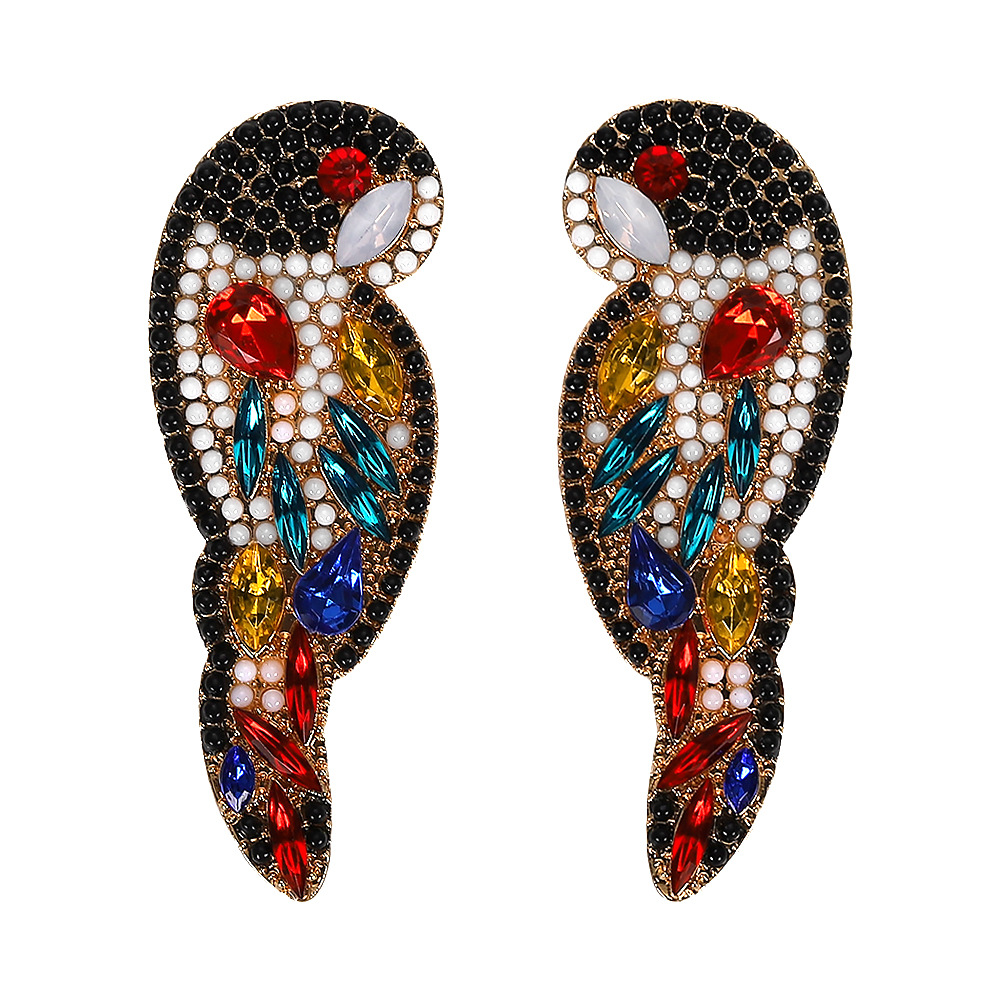 Feminine  Zodiac Parrot Alloy Rhinestone Earrings NHJQ128129