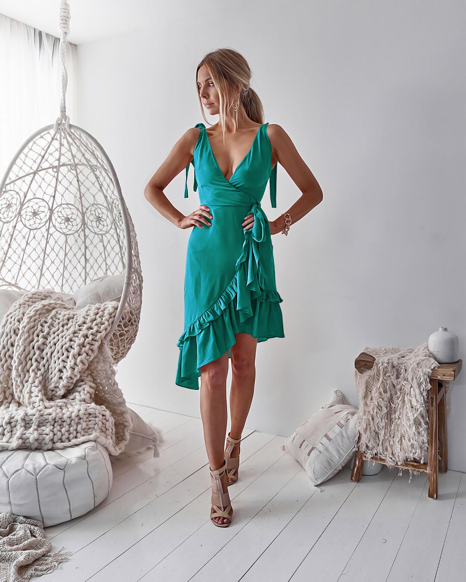 Новое летнее женское платье без рукавов с бретельками v образным вырезом undefined