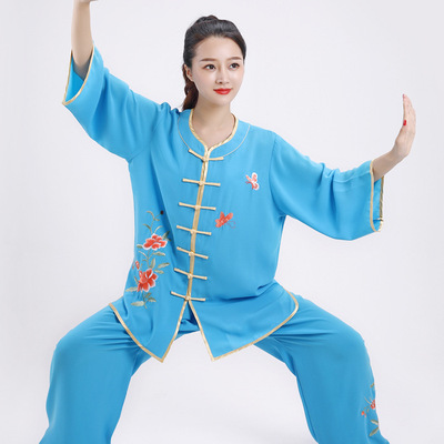 Embroidered tai chi clothing kung fu uniforms for women short sleeve short sleeve martial arts training clothes breathable cotton and linen wing chun suit