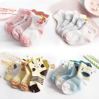 Nineteen New Spring and Summer Mesh Thin Childrens Socks All-cotton Mid-tube Cartoon Childrens Socks for Boys, Babies and Babies