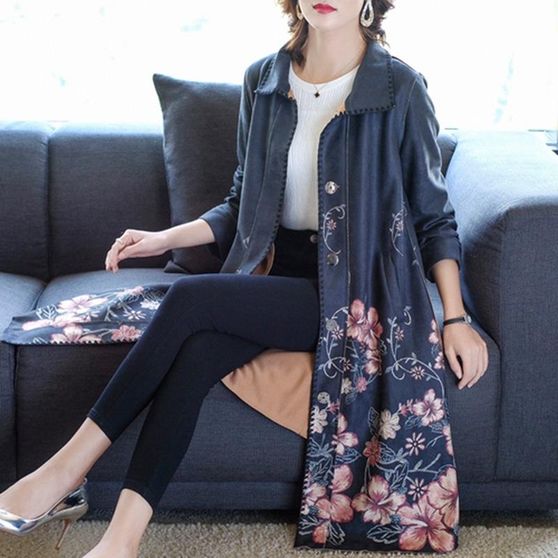 中年妈妈秋装2019新款贵夫人高端洋气大码风衣女中长款鹿皮绒外套