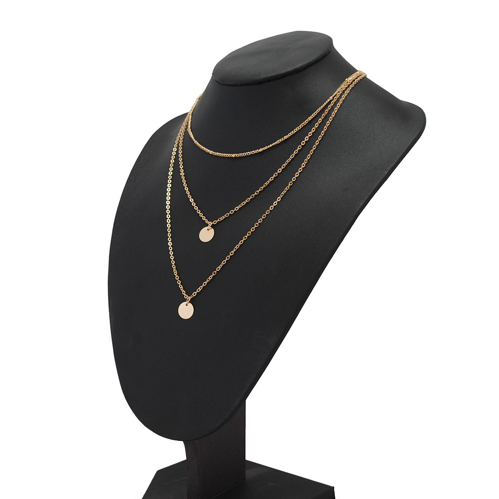 Jewelry Wholesale Copper Plate Size Disc Multilayer Pendant Necklace Wholesale NHKS197127