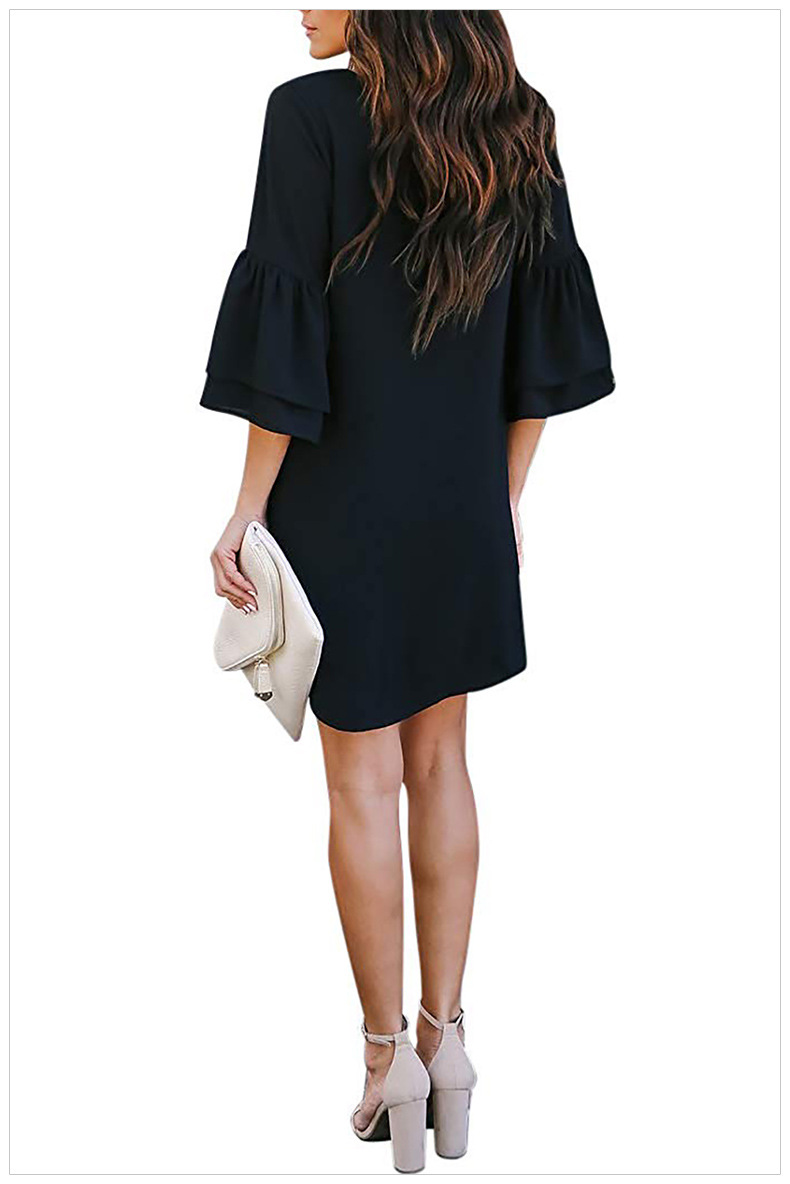 fashion big size new summer solid color loose single-breasted short-sleeved women dress NSSI2457