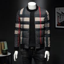 廠家直銷男士羽絨服外套格子白鴨絨2019冬季新款歐洲站大牌男裝潮