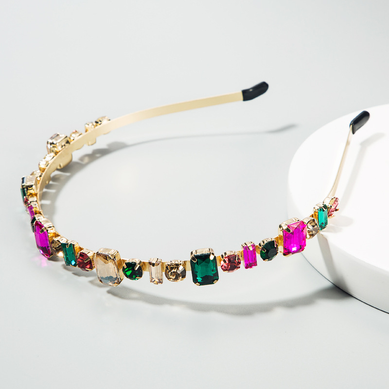 Women's Hairband Korean Neckband Color Geometry Set Glass Diamond Korean Headband NHLN188276