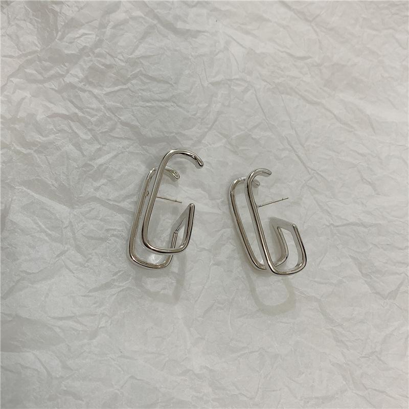 Personalized one-piece open fake double ring C-shaped earrings simple earrings women NHYQ185695