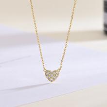 S925純銀新款日系輕奢珠寶愛心項鏈心形鋯石鍍18K金鎖骨鏈飾品