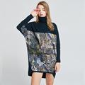 高领毛衣女宽松蝙蝠衫秋冬堆堆领打底衫100%羊毛针织毛衣裙中长款