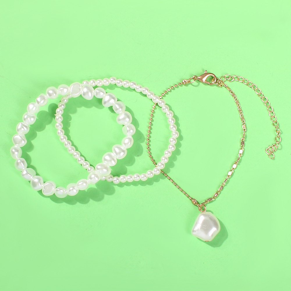 Fashion holiday style pearl three piece anklet bracelet NHMD155931