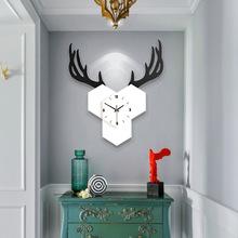 JJT久久达挂钟经典鹿头造型创意挂钟装饰简约北欧风跨境壁钟厂家