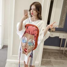 2019夏季韩版短袖百搭T恤大码显瘦打底衫女中长款宽松时尚上衣潮