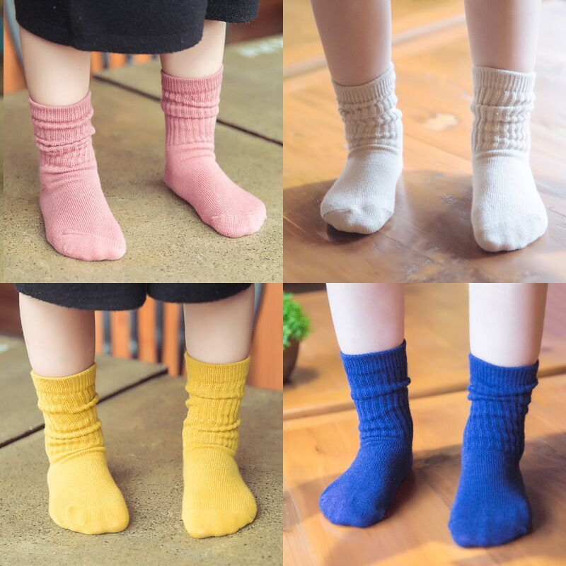 Children's socks wholesale high rubber baby socks autumn and winter new fashion candy color cotton pile socks wholesale