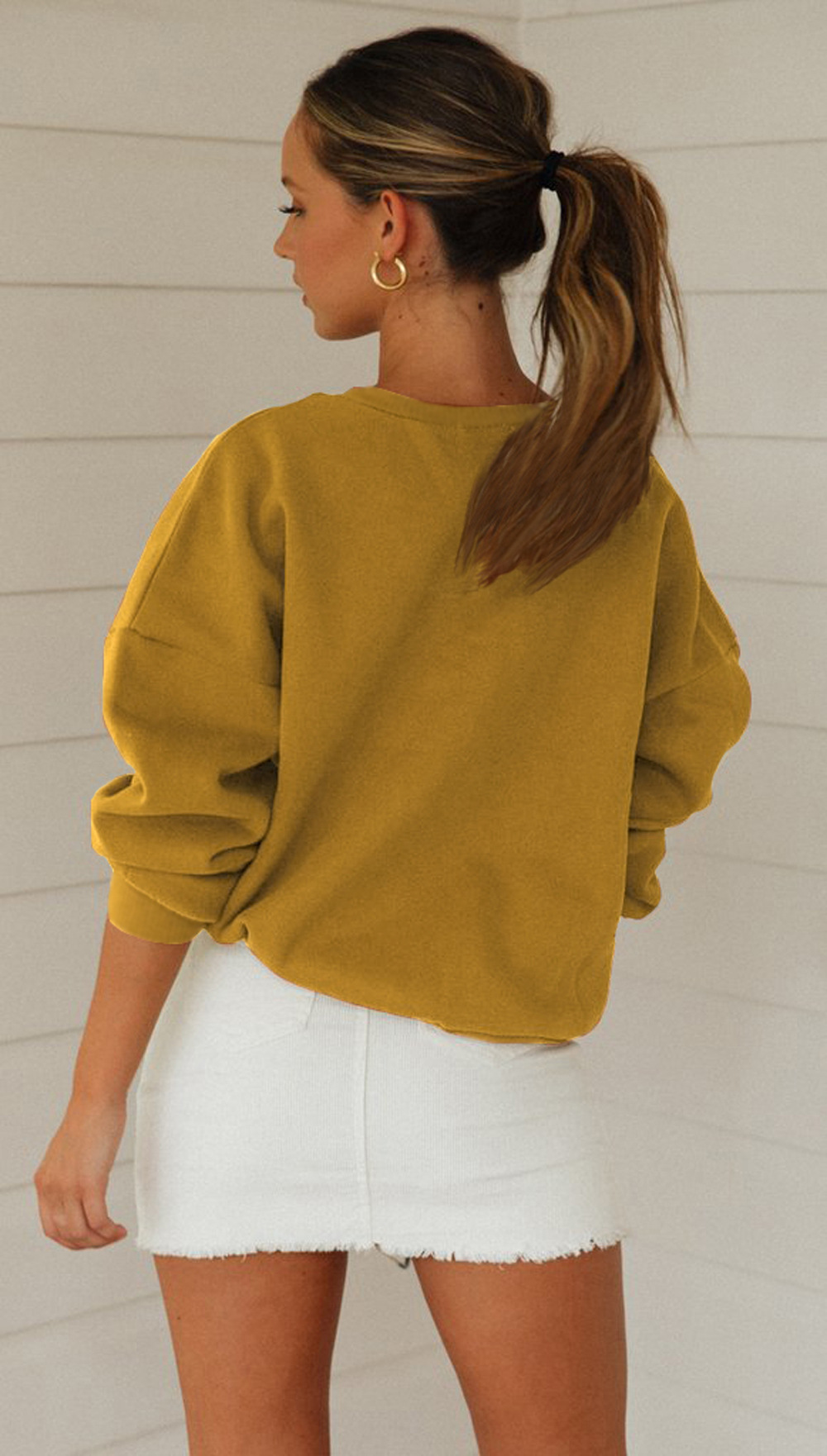 sports and leisure ladies sweater long sleeve round neck loose fashion women's clothing   NSDF1307