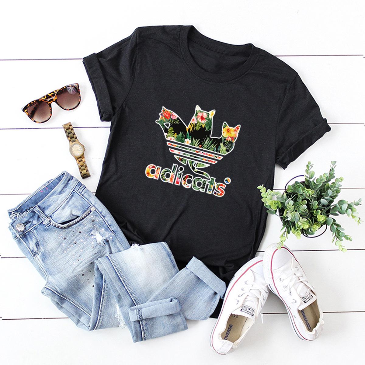cat letters short-sleeved T-shirt NSSN3387