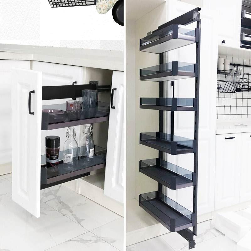 厨房橱柜高柜大怪物铝合金侧拉篮高深抽拉式小窄柜调味料瓶阻尼轨