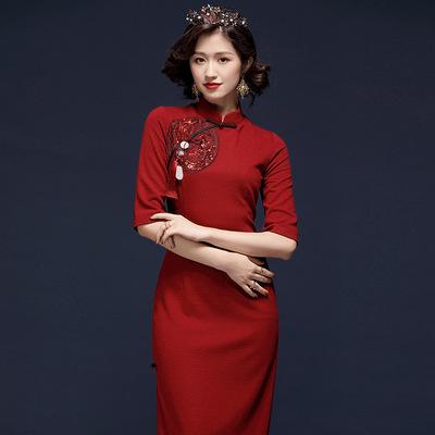 宴会旗袍2020新款女装中国风复古刺绣改良中长款连衣裙20008