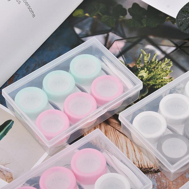 Ba cặp hộp chăm sóc kính áp tròng 瞳 hộp lưu trữ hiển thị Trong suốt 瞳 hộp ghép hộp bán buôn Phụ kiện kính