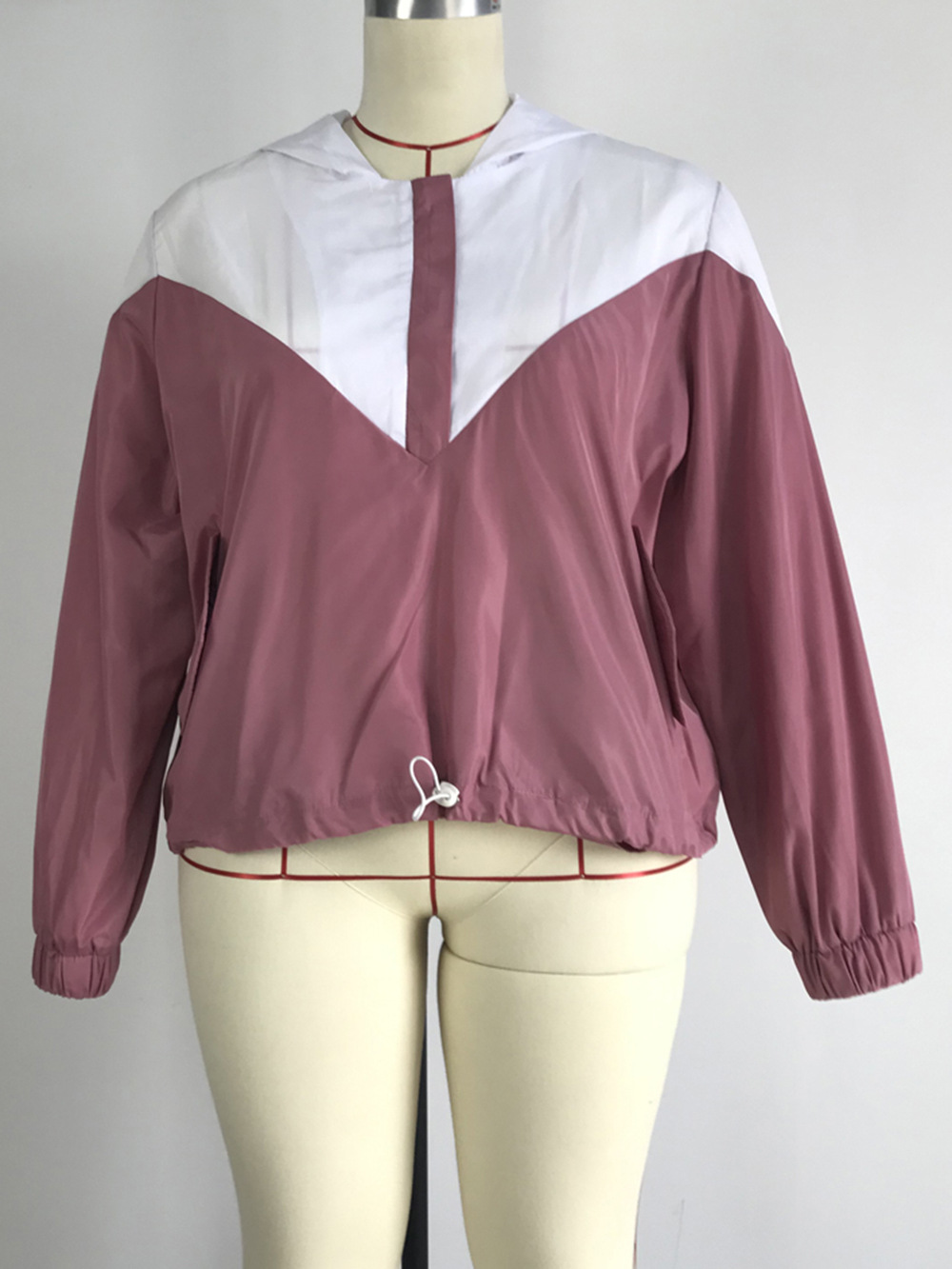 hooded sweater plus size women's jacket coat color matching wholesale   NSDF1322