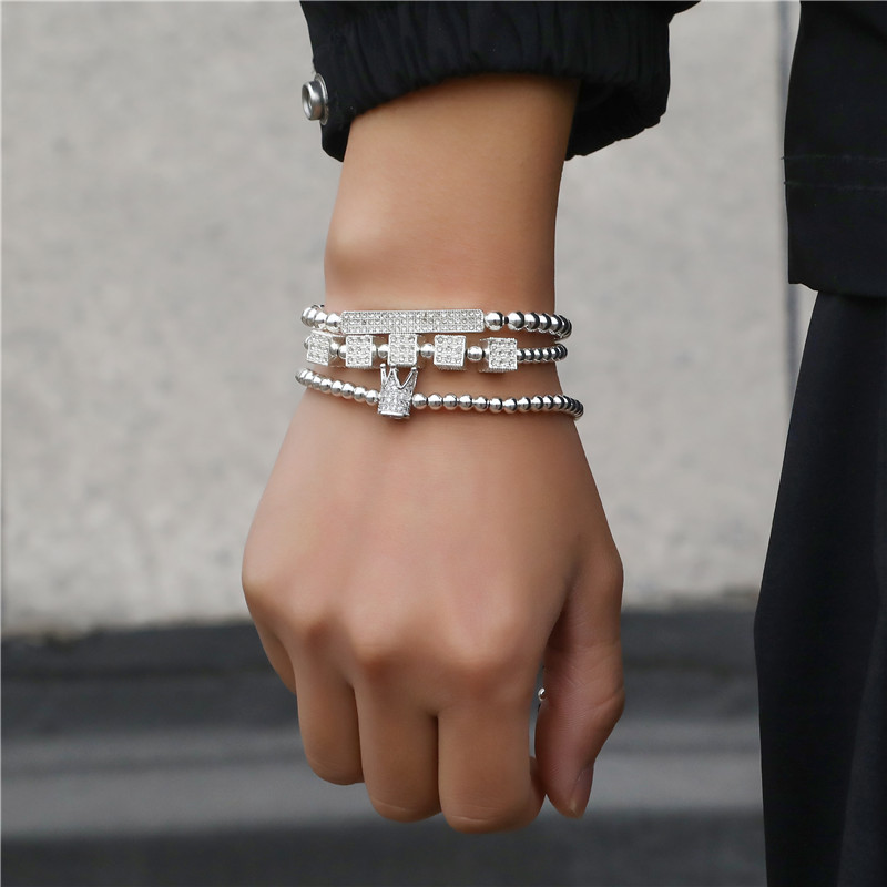 Hot sale punk style braided alloy point diamond long crown dice four-color suit bracelet bracelet NHZU199414