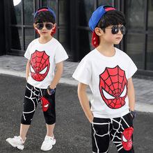 2019夏新款童装奥特曼衣服?#22411;?#21457;光超人蜘蛛侠套装亮灯短袖两件套