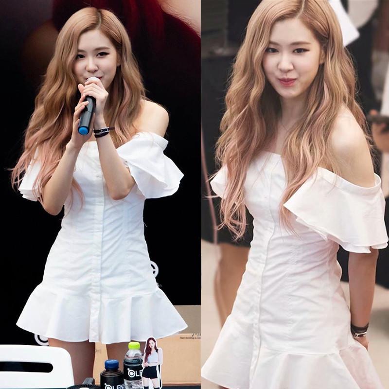 韩国明星同款2019夏季前排扣白色一字领露肩连衣裙荷叶边短裙女