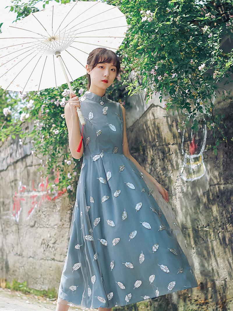 【实拍现货】走水二钉珠珠片羽毛改良旗袍 复古中长款连衣裙女