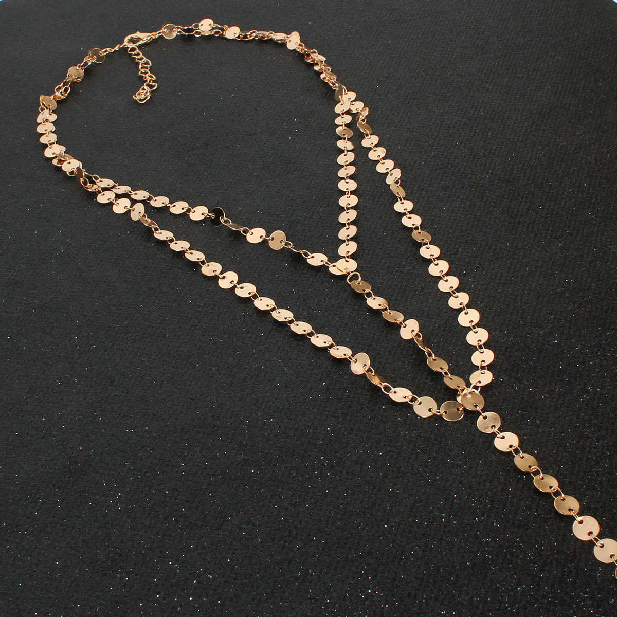 Personalized glossy handmade round chain goldplated womens necklace NHCT177392