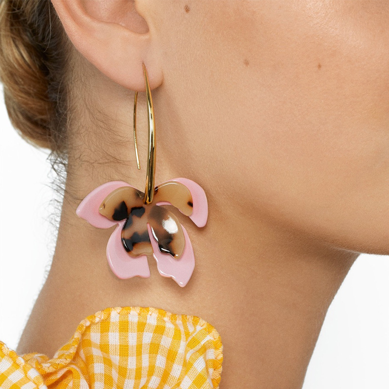 Resin flower earrings fashion leopard print NHJQ171238