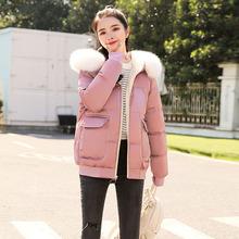 时尚短款棉衣女装2019冬季新款韩版刺绣保暖棉服大毛领棉袄外套