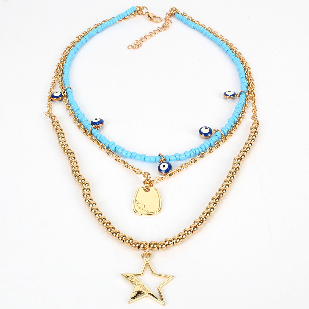 Women's bohemian multi-layered bead chain pentagram pendant vacation necklace women NHCT181575