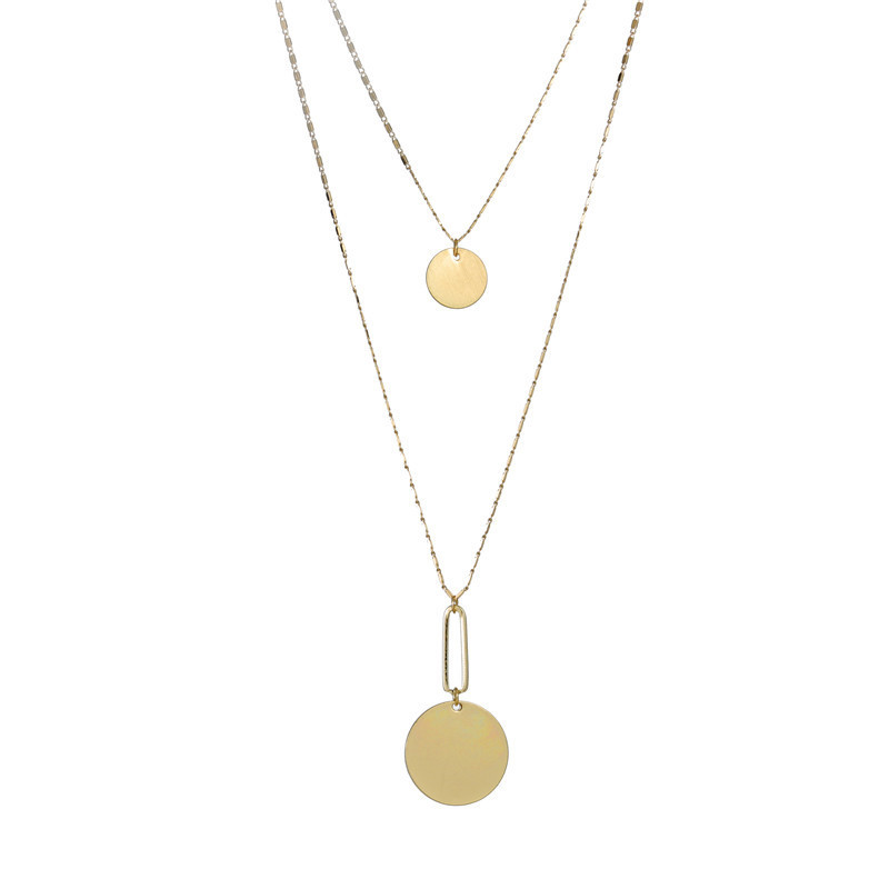 Double-layer size disc pendant trend clavicle chain necklace female NHZU178816
