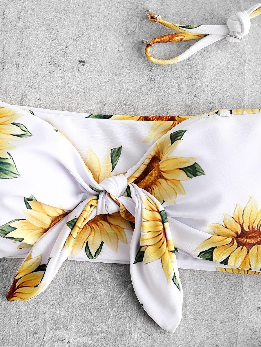 Sexy split bikini swimsuit tube top print sun flower triangle bikini swimwear NHHL203307