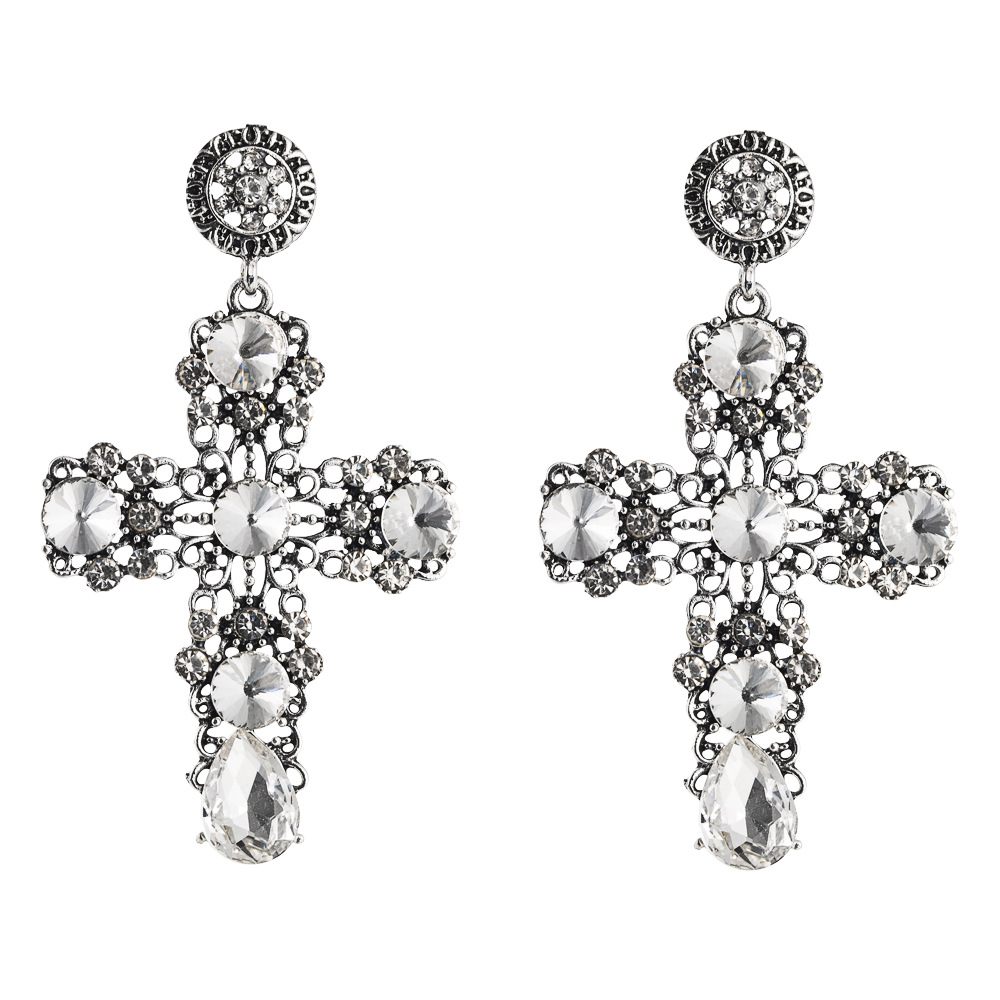 European and American popular classic trend exaggerated retro earrings female hollow atmosphere cross diamond alloy long earrings NHLN190282