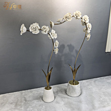 北欧陶瓷工艺品仿真金属假花摆饰酒店家居玄关样板间大理石花瓶座