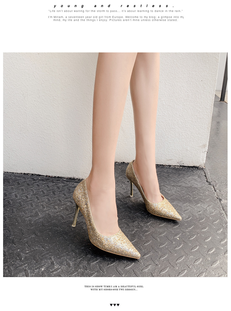 Fashion sexy sequins fine pointed shallow mouth high heels NHSO151722