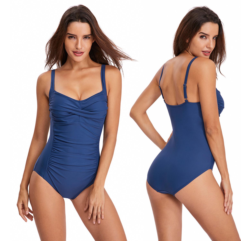 游泳衣批发亚马逊2020欧美连体泳衣女士吊带保守三角连体泳装