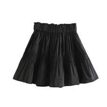 歐美女裝2019秋季新款塔夫綢褶皺蓬蓬裙迷你裙松緊高腰寬大短裙潮