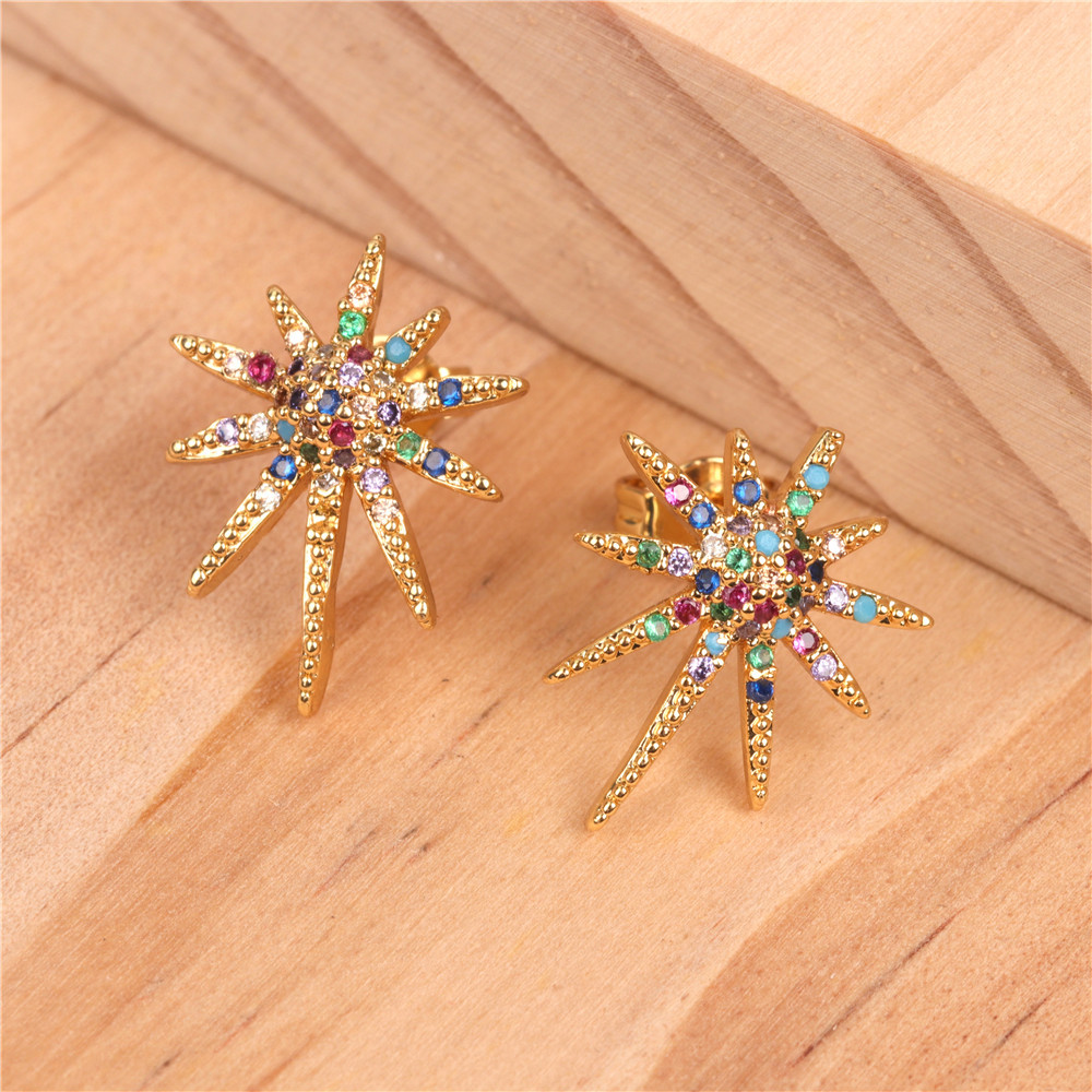 Fashion square color zircon gemstones set with men and women earrings NHPY171162