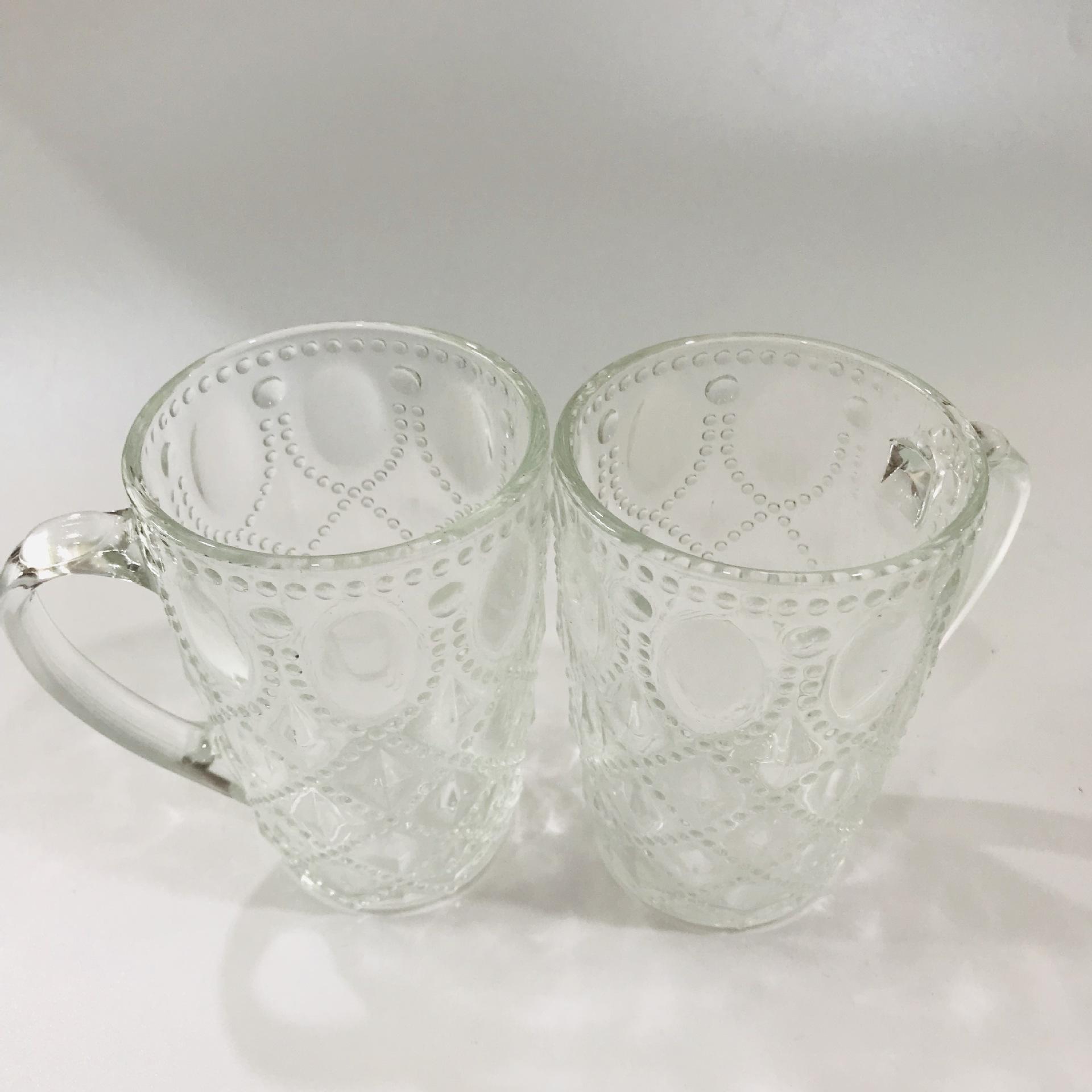 2元家用高白大菠萝杯玻璃水杯 透明 有手柄 纯色耐高温茶杯菠萝杯