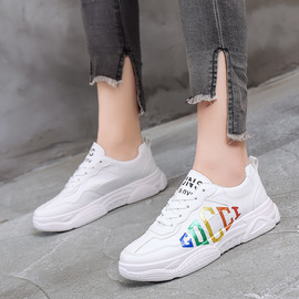 New couple sneakers, fashion letters, street shots, sneakers, large flats, round-headed women's shoes.