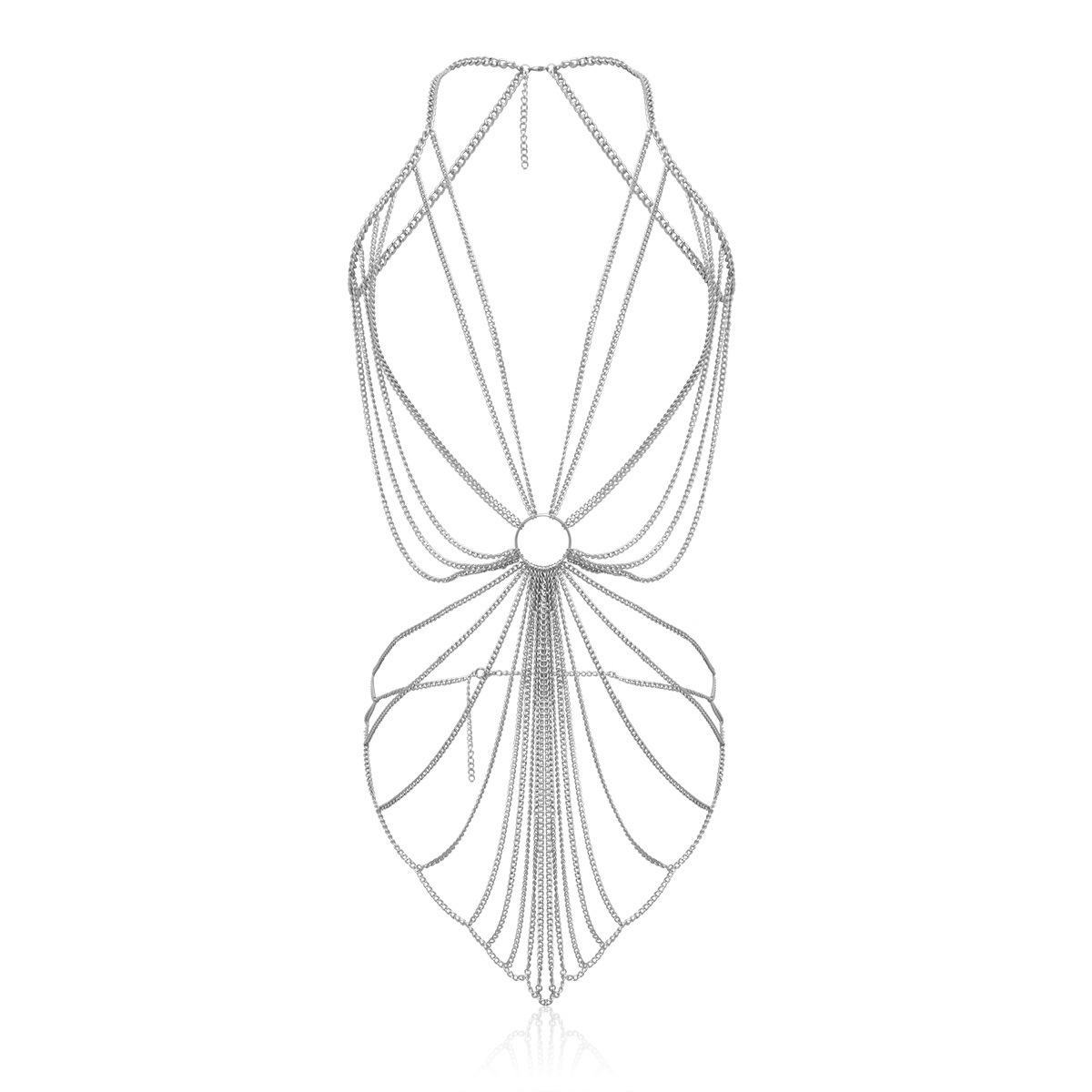 Retro simple temperament lock single layer alloy necklace NHXR158412