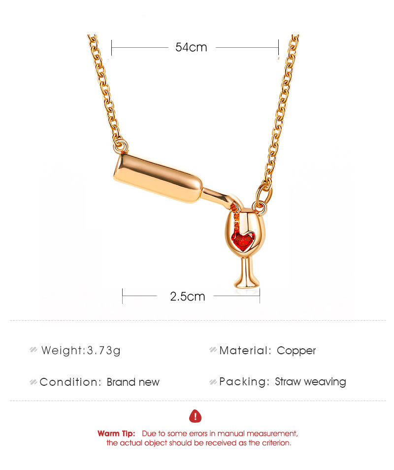 Wine bottle necklace female personality love diamond-encrusted wine bottle goblet clavicle chain NHDP176405