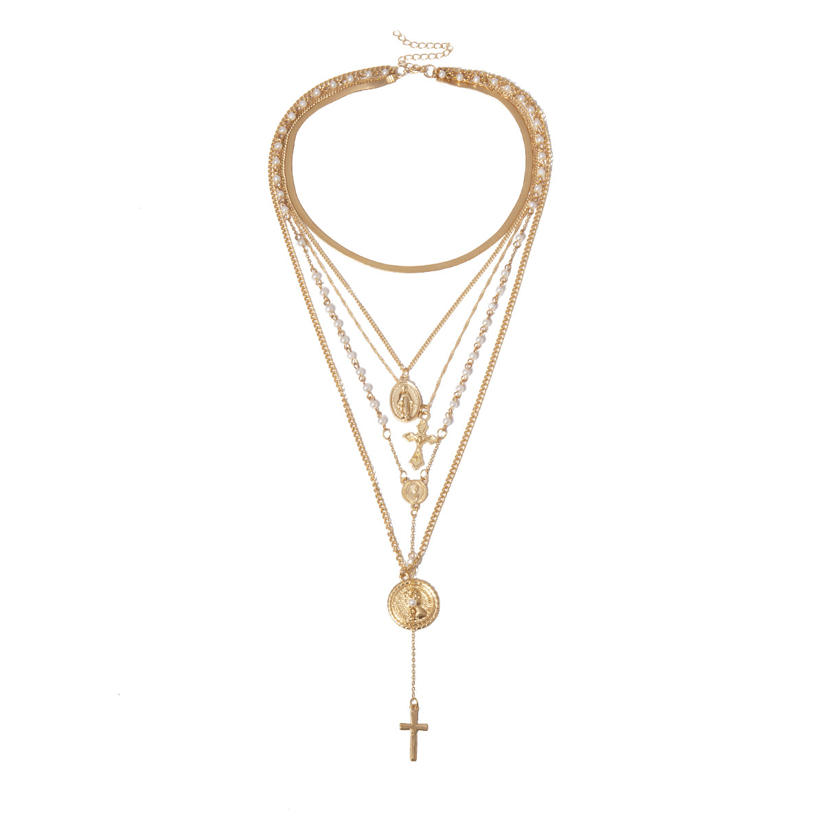 Vintage multi-layered embossed cross sweater chain alloy necklace NHXR158378