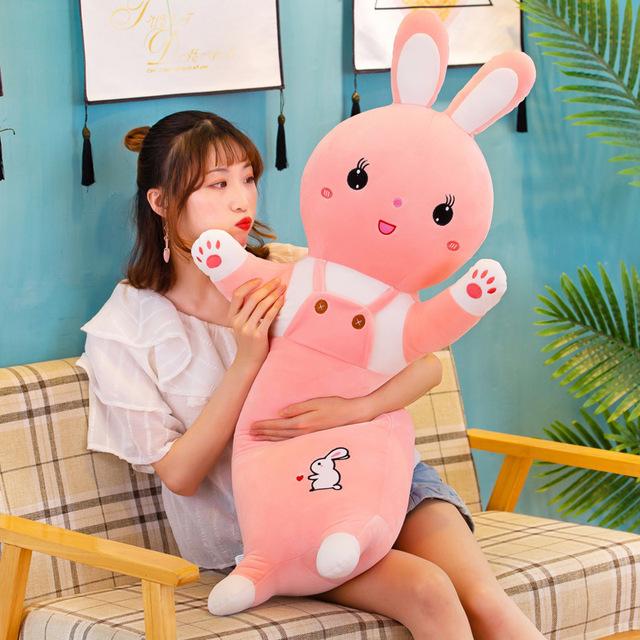 兔毛绒玩具可爱软体背带兔子抱枕儿童玩具压床陪睡枕头可加logo