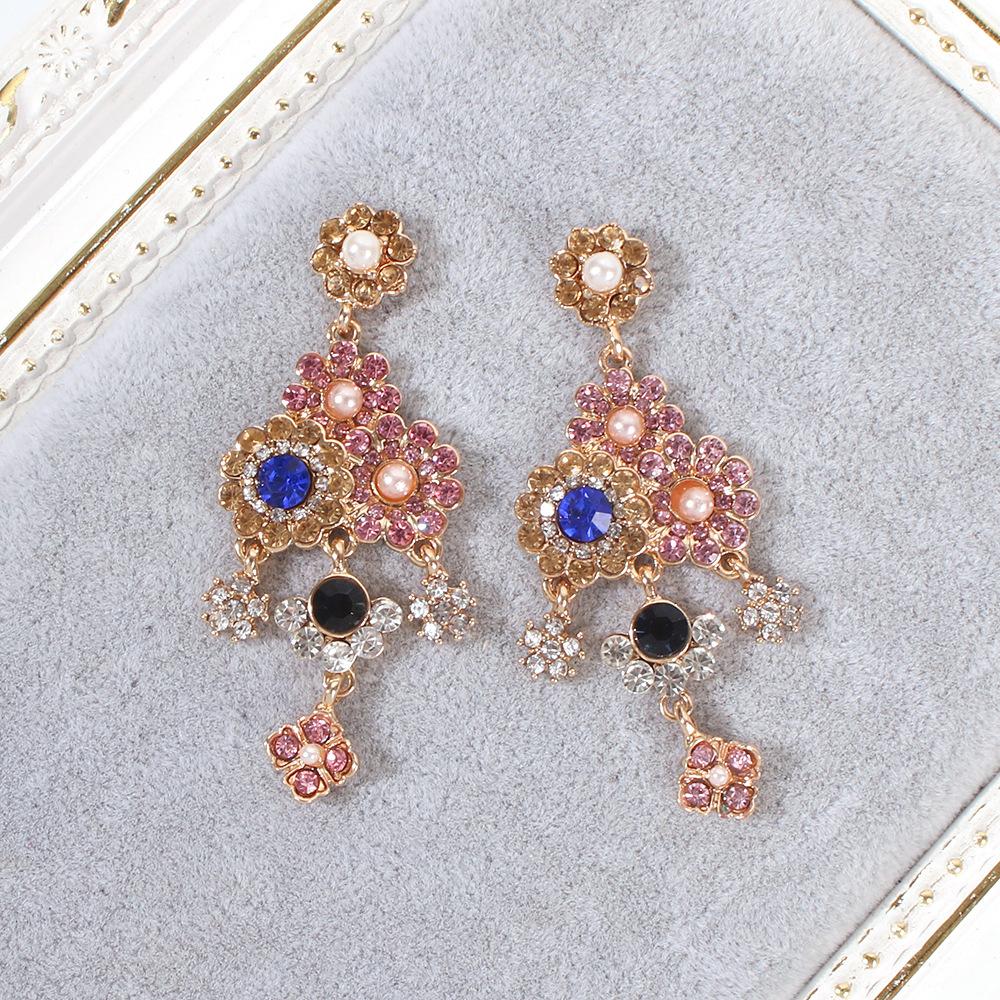 Pendientes largos de aleación de perlas de piedras preciosas artificiales vintage NHMD155971