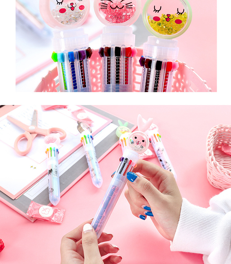 Creative cartoon ten-color ball-point pen girl heart color multi-function push oil pen candy color cute student stationery NHHE196727