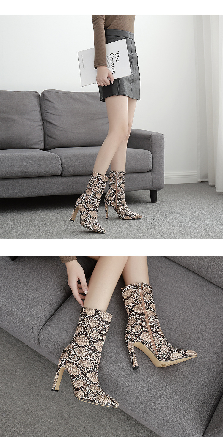 Europe and the United States large size snake pattern square with pointed head high heel boots NHSO151712